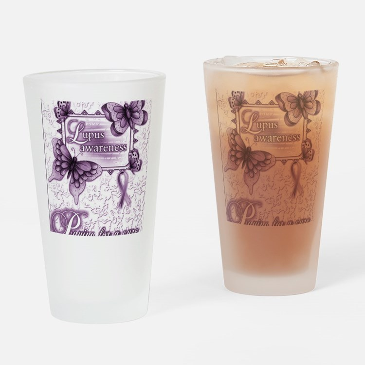 Lupus Awareness Drinking Glass