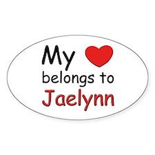 My heart belongs to jaelynn Oval Decal