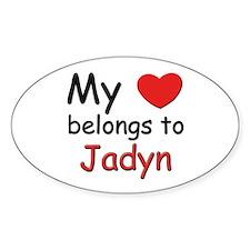 My heart belongs to jadyn Oval Decal