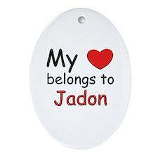 My heart belongs to jadon Oval Ornament