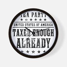 march_taxed_enough_already_black Wall Clock
