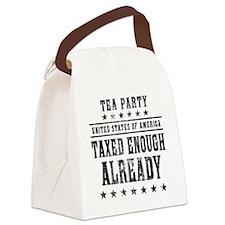 march_taxed_enough_already_black Canvas Lunch Bag
