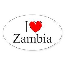 """I Love Zambia"" Oval Decal"