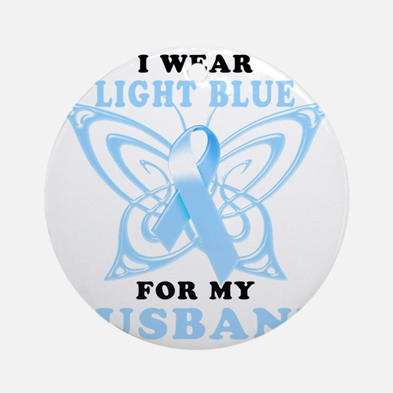 I Wear Light Blue for my Husband Round Ornament