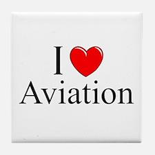 """I Love (Heart) Aviation"" Tile Coaster"