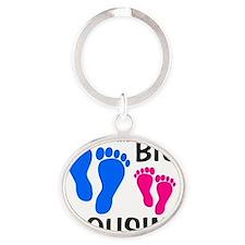 imthebigcousin_bluefeet_pinkfeet Oval Keychain