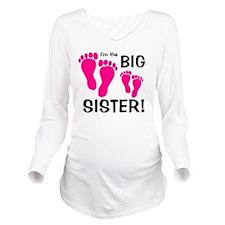 imthebigsister_pinkf Long Sleeve Maternity T-Shirt