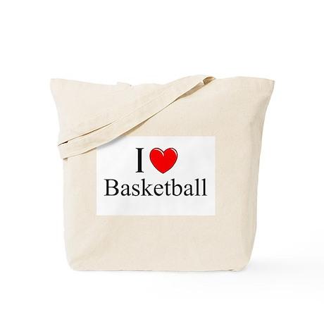 """I Love (Heart) Basketball"" Tote Bag"