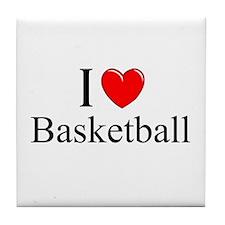 """""""I Love (Heart) Basketball"""" Tile Coaster"""