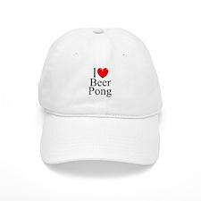 """I Love (Heart) Beer Pong"" Baseball Cap"