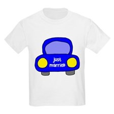 Just Married Wedding Car Kids T-Shirt