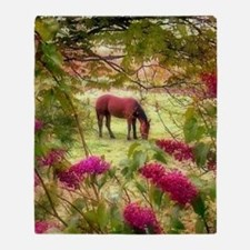 horse in summer Throw Blanket