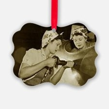 Two Girls Riveting On Airframe Ornament