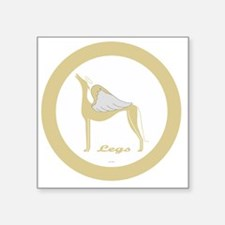 "LEGS ANGEL GREY gold rim ro Square Sticker 3"" x 3"""
