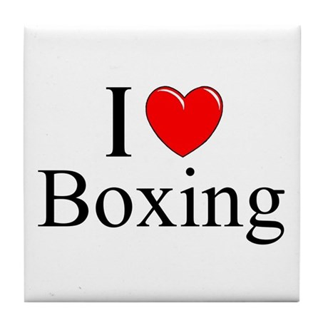 """I Love (Heart) Boxing"" Tile Coaster"