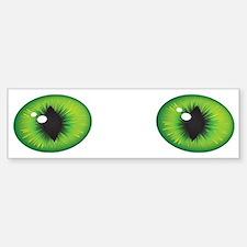 Green Cat Eyes Bumper Bumper Sticker