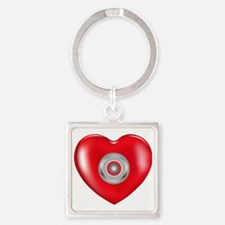 Safety Hearts Red Square Keychain