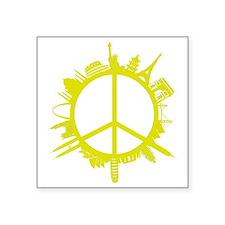 "world peace_yellow Square Sticker 3"" x 3"""