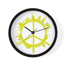 world peace_yellow Wall Clock