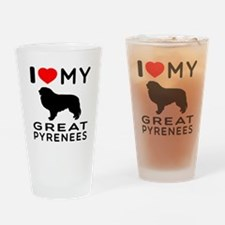 I Love My Great Pyrenees Drinking Glass