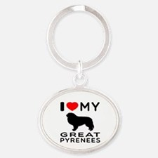 I Love My Great Pyrenees Oval Keychain