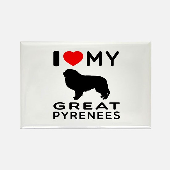 I Love My Great Pyrenees Rectangle Magnet