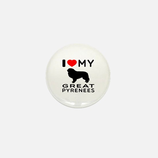 I Love My Great Pyrenees Mini Button