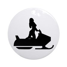 Babe on Sled Ornament (Round)