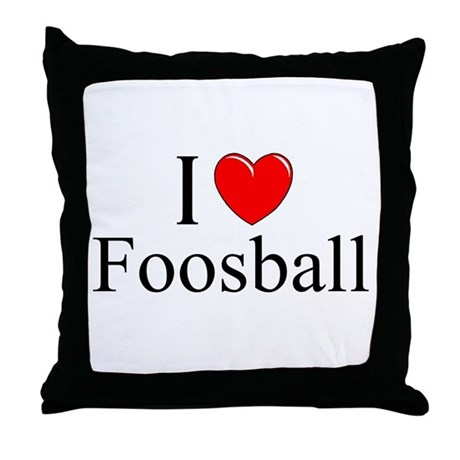 """I Love (Heart) Foosball"" Throw Pillow"