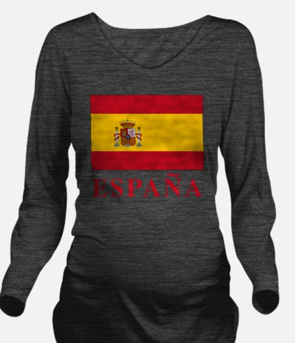 2-Flag_of_Spain3 Long Sleeve Maternity T-Shirt