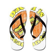Bacon is Meat Candy vintage 1 Flip Flops