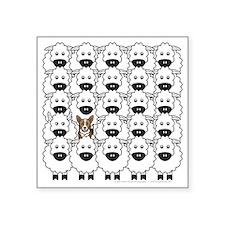 """Corgi in the Sheep Square Sticker 3"""" x 3"""""""