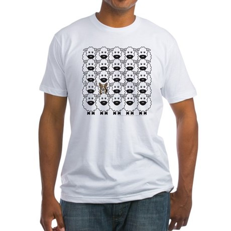 Corgi in the Sheep Fitted T-Shirt