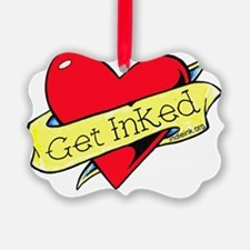 Get Inked heart off center Ornament