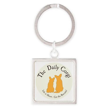 SMALL ROUND daily corgi logo Square Keychain