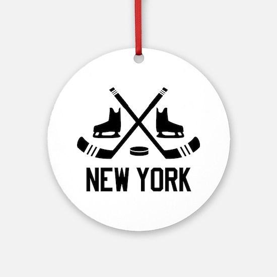 New York Hockey Round Ornament
