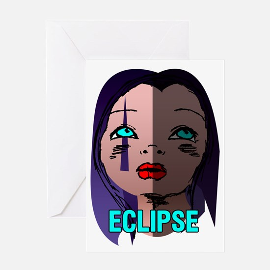 3-girlfaceeclipse Greeting Card
