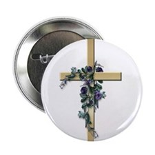 Gold Cross w/Purple Flower's Button