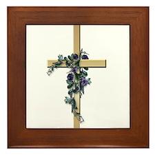 Gold Cross w/Purple Flower's Framed Tile
