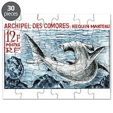 1965 Comoros Islands Hammerhead Shark Stamp Puzzle