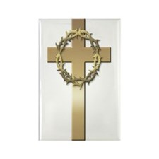 Gold Cross w/Crown Rectangle Magnet