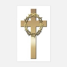 Gold Cross w/Crown Rectangle Decal