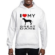 I Love My Great Dane Hoodie Sweatshirt