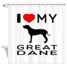 I Love My Great Dane Shower Curtain