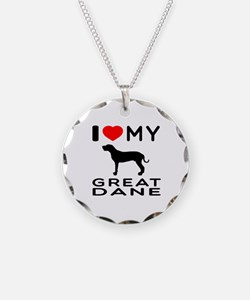I Love My Great Dane Necklace Circle Charm