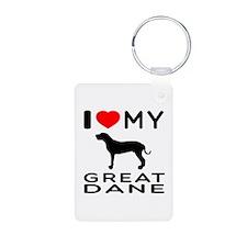 I Love My Great Dane Keychains