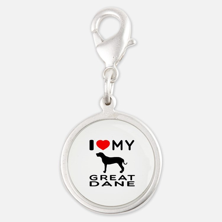 I Love My Great Dane Silver Round Charm