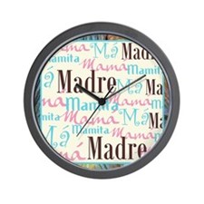Spanish_Pink_Turq_Brn+Framed_13x13 Wall Clock