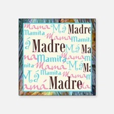 "Spanish_Pink_Turq_Brn+Frame Square Sticker 3"" x 3"""