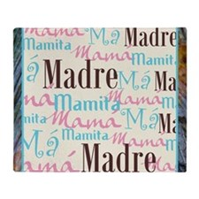 Spanish_Pink_Turq_Brn+Framed_13x13 Throw Blanket